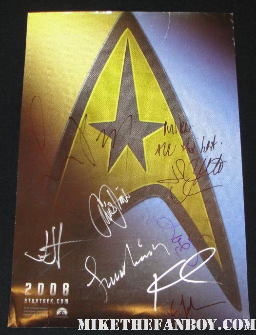star trek 2010 rare hand signed autograph promo mini poster chris pine zoe saldana anton yelchin zachary quinto simon pegg leonard nimoy jj abrams john cho karl urban