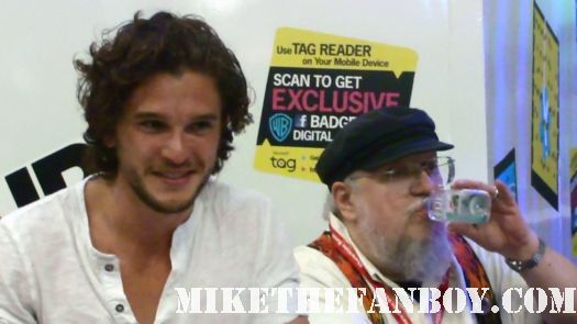 Kit Harington (who plays Jon Snow) and the writer/creator George RR Martin at the game of thrones panel at san diego comic con 2011 sdcc 2011 hot sexy rare