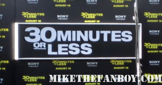 the 30 minutes or less world movie premiere red carpet aziz anzari Jesse Eisenberg ben stiller rare