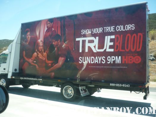 giant true blood season 4 sign with alexander skarsgard stephen moyer anna paquin driving along the 15 freeway on the road to san diego comic con 2011