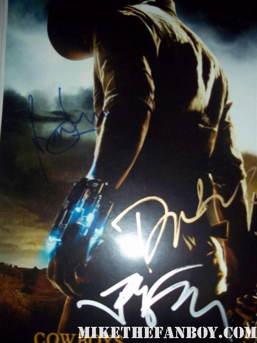 harrison ford jon favreau daniel craig signed autograph cowboys and aliens rare promo mini poster