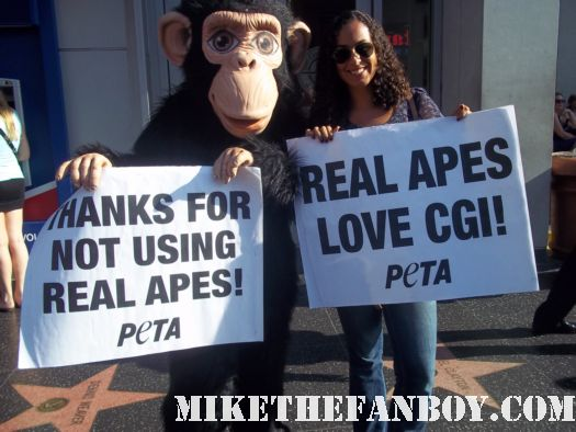 rise of the planet of the apes premiere rare signed autograph peta protestors promoting cgi rare  hot sexy monkeys