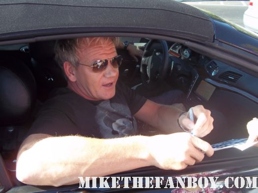 kitchen nightmares star gordon ramsay stops to sign autographs for fans at a talk show taping
