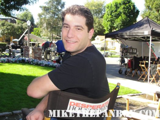 mike the fanboy on the set of desperate housewives on wisteria lane in a director's chair