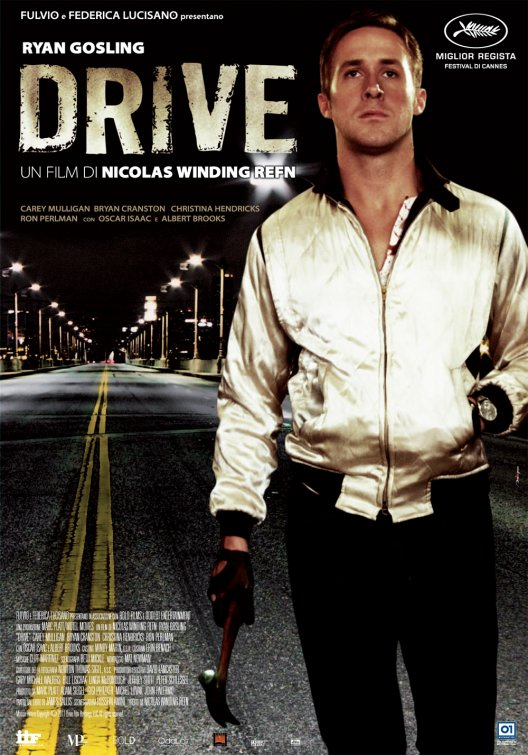 ryan gosling in the drive one sheet movie poster promo looking like a gay hooker in a gold lame jacket