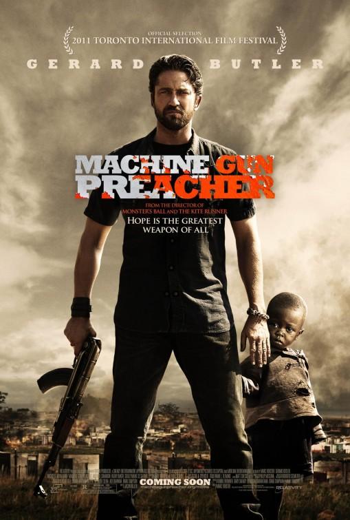 gerard butler in machine_gun_preacher rare promo one sheet movie poster hot sexy promo rare cheesy 300