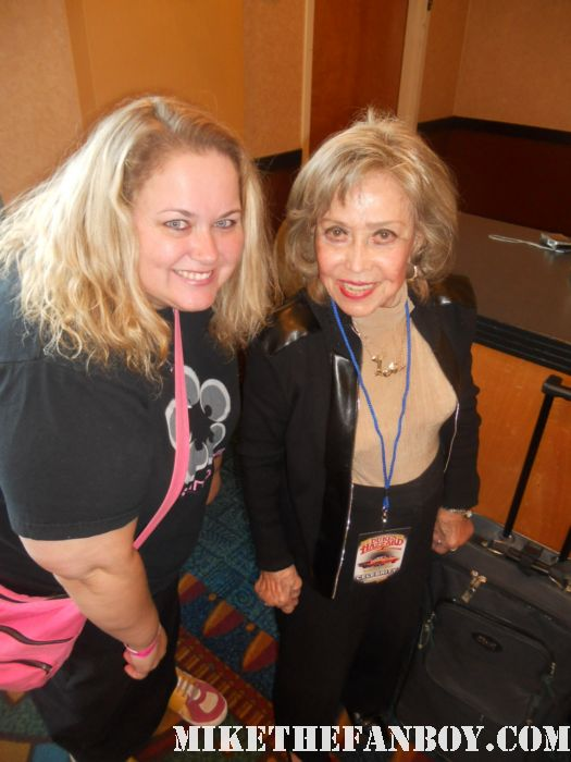 June Foray the voice of rocky and bullwinkle poses for a fan photo at the burbank hollywood collector's show