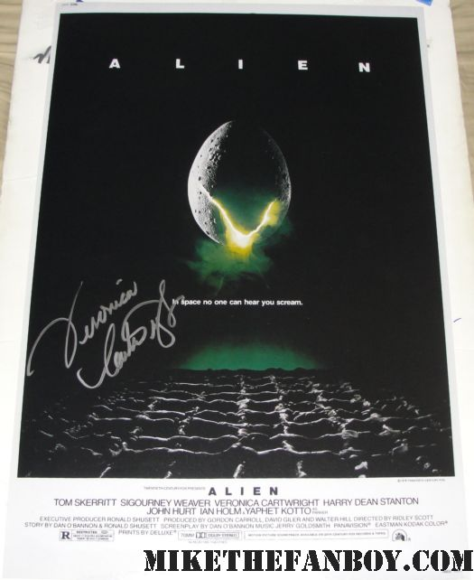 veronica cartwright signed autograph Alien rare promo mini poster sigourney weaver ridley scott
