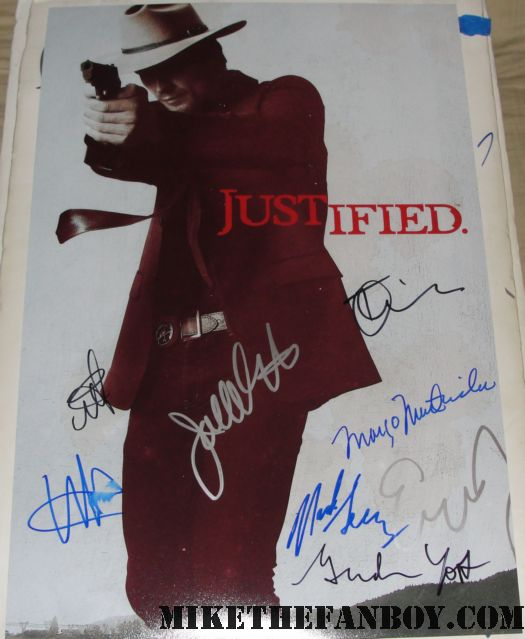 natalie zea timothy olyphant graham yost signed autograph justified rare promo mini poster walton goggins hot