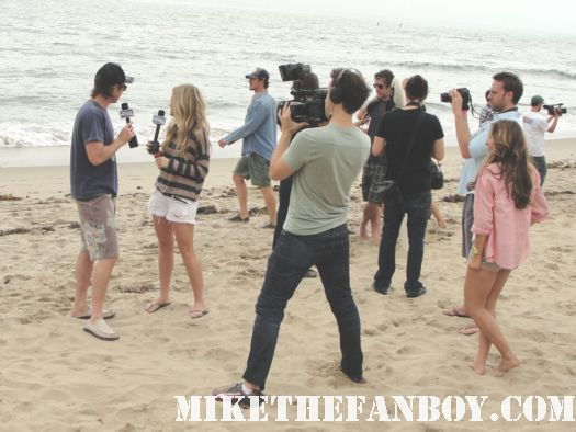 true blood star sam trammell getting interviewed on the beach at the 6th annual surfrider benefit in malibu