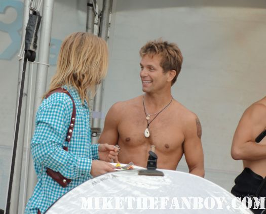David Chokachi  shirtless hanging out with shirtless celebrities hanging out at the beach at the 6th annual surfrider benefit in malibu baywatch