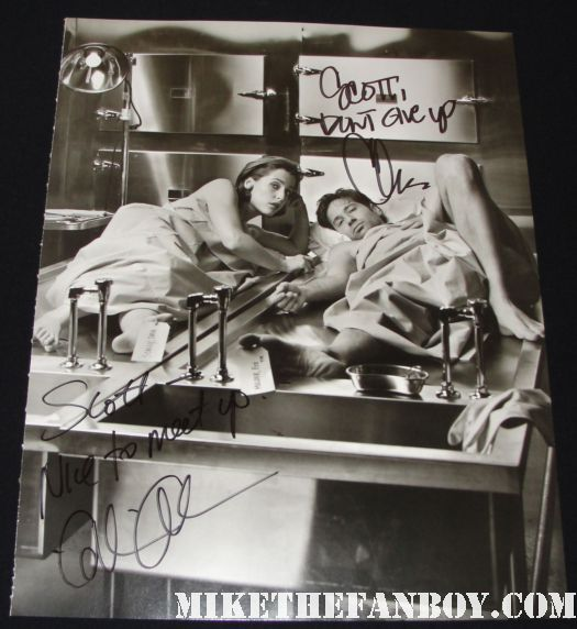 mark selinger x files toe tag morgue photo signed autograph gillian anderson chris carter david duchovny hot sexy rare photo book