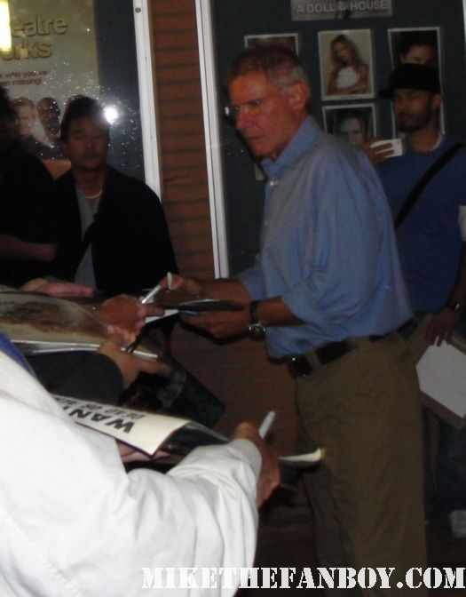 harrison ford signing autographs for fans after calista flockharts play at ucla rare indiana jones autograph han solo star wars signed promo rare sexy hot han shot first