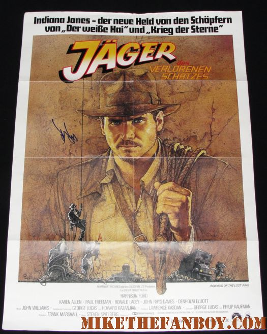 harrison ford signed autograph raiders of the lost ark original german promo poster hot promo original raiders of the lost ark poster indiana jones autograph signed