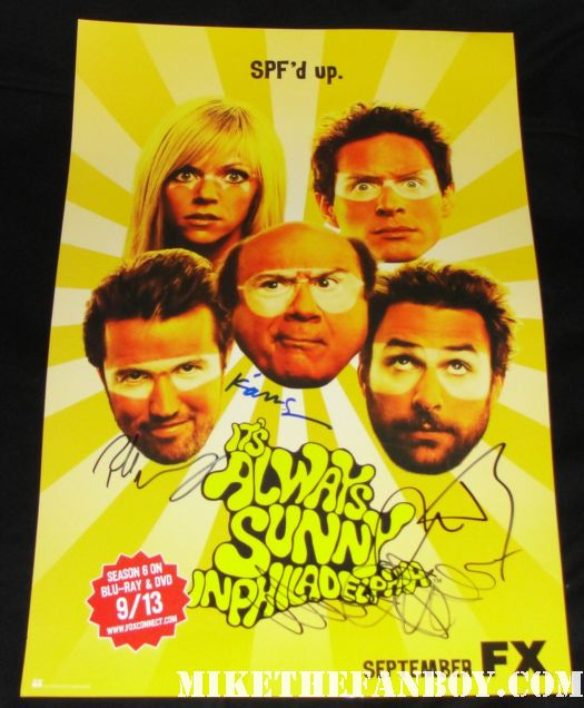 it's always sunny in philadelphia cast signed autograph poster rare sdcc promo Rob McElhenney danny devito charlie day kaitlin olsen
