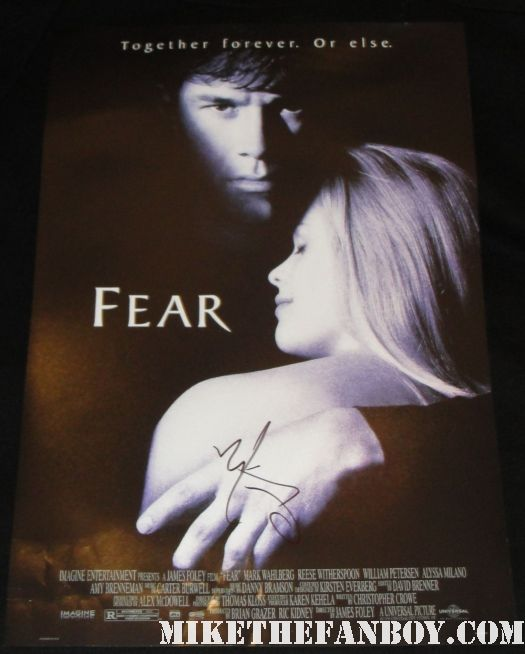Mark Wahlberg signed autographed fear mini poster reese witherspoon shirtless promo hot sexy Marky Mark wahlberg arrives at a talk show taping to promote boardwalk empire and signs autographs for fans hot and sexy mark wahlberg