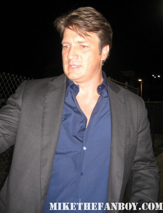 Nathan fillion walking over to greet fans after a talk show taping promoting waitress and firefly castle