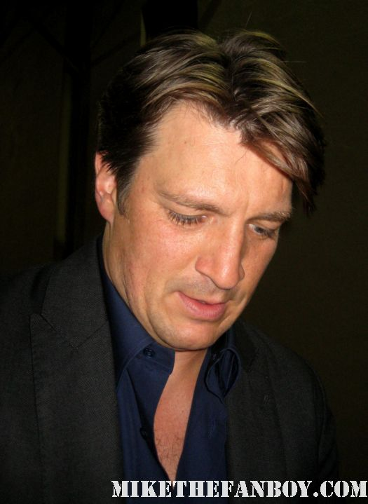 Nathan fillion walking over to greet fans after a talk show taping promoting waitress and firefly