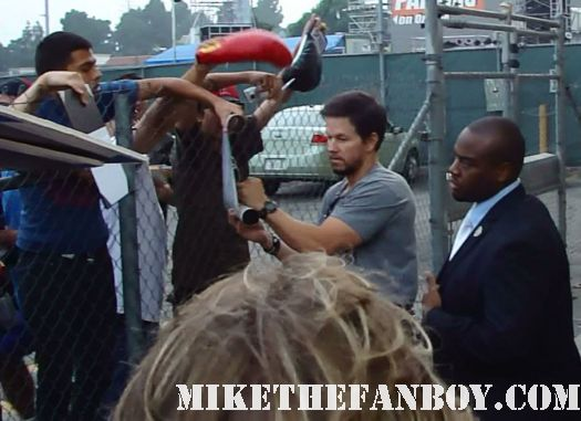Marky Mark wahlberg arrives at a talk show taping to promote boardwalk empire and signs autographs for fans hot and sexy mark wahlberg sexy hot good vibrations sexy rare