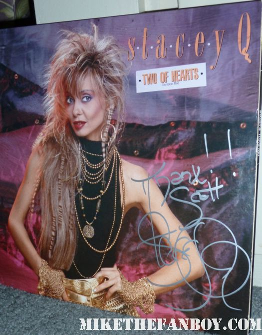 stacey q signed autograph two of hearts rare vinyl lp promo hot sexy now 2011 stacey q live in concert 2011 now rare 1980's icon Stacey Q on location of her music video we go together from The Return of the Living Dead signed autograph two hearts