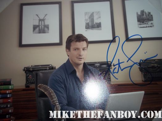 nathan fillion signed autograph castle photo promo hot sexy rare joss whedon fan buffy the vampire slayer promo