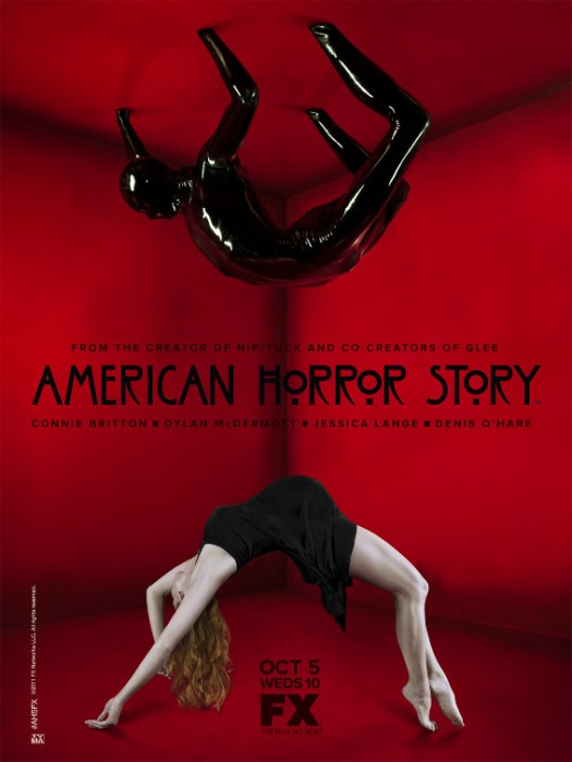 fx new series american horror story rare season 1 promo poster red black creepy image hot sexy naked girl