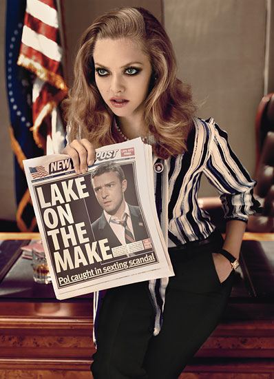 justin timberlake and amanda seyfriend cover w magazine hot sexy rare promo black and white political w magazine october 2011