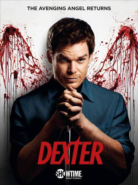 Dexter season rare promo poster michael c hall with bloody angel wings rare promo hot sexy dexter lauren velez
