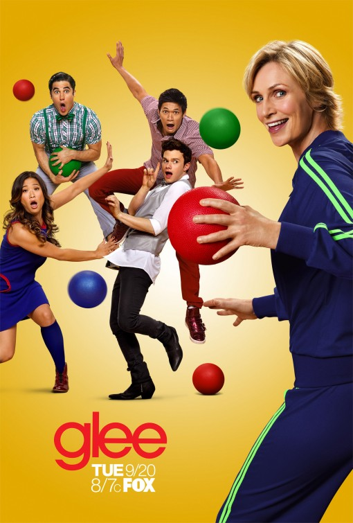 glee season 3 rare promo poster jane lynch dodgeball theme rare chris colfer hot sexy rare glee club promo