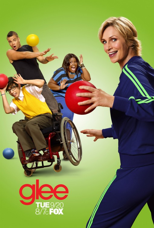 glee season 3 rare promo poster jane lynch dodgeball theme rare chris colfer hot sexy rare glee club promo  mercedes puck mark sailing