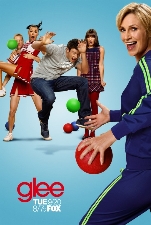 glee season 3 rare promo poster jane lynch dodgeball theme rare chris colfer hot sexy rare glee club promo  mathew morrison leah michelle heather morris
