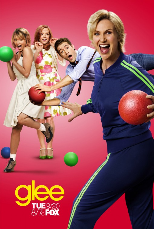 glee season 3 rare promo poster jane lynch dodgeball theme rare chris colfer hot sexy rare glee club promo  matthew morrison jayma mays diana agron
