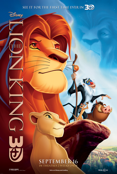 walt disney's The Lion King in 3d rare one sheet movie poster promo simba rare animated classic promo
