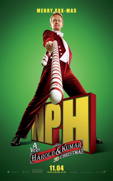 very_harold_and_kumar_christmas_ver4 neil patrick harris rare individual promo poster rare candy cane hot