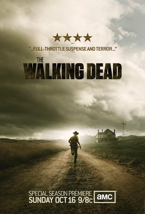 amc's the walking dead rare season 2 promo poster running though a field rare zombie show graphic novel