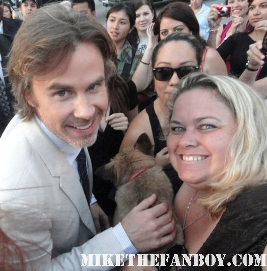 true blood star sam trammel with pretty in pinky and her dog sammy rhodes at the true blood season 4 premiere