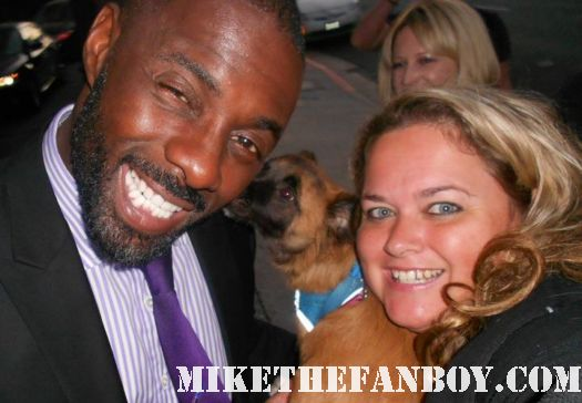 the big c star edris elba with pretty in pinky and her dog sammy rhodes at the showtime emmy party