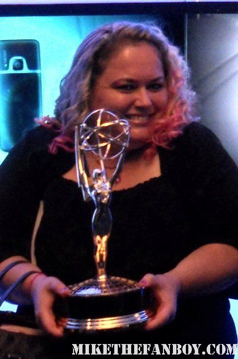 mike the fanboy's pretty in pinky at the 2011 emmy awards holding an emmy statue in the foyer
