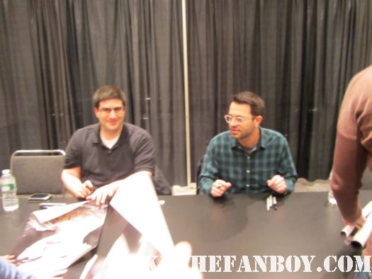 Eddie Kitsis and Adam Horowitz signing autographs for once upon a time abc show review rare ginnifer goodwin rare promo hot sexy