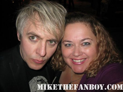 nick rhodes from duran duran  taking a photo with pinky signed autograph rare promo rare promo