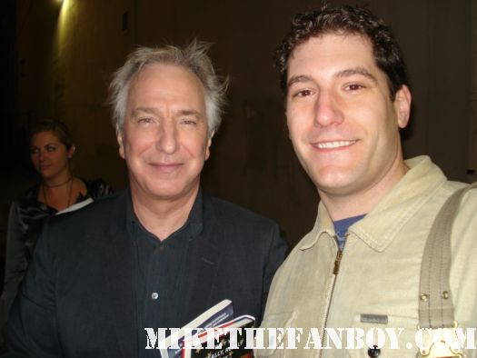 mike the fanboy with galaxy quest and harry potter star alan rickman outside a talk show taping fan photo rare robin hood