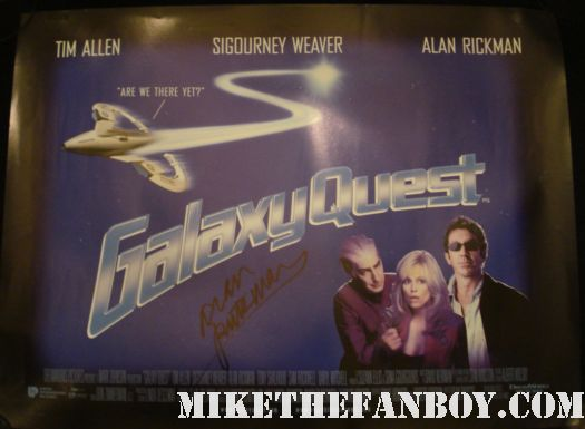 alan rickman signed autograph galaxy quest uk quad mini poster alan rickman from Harry potter robin hood prince of thieves galaxy quest signed autograph rare promo hot severus snape