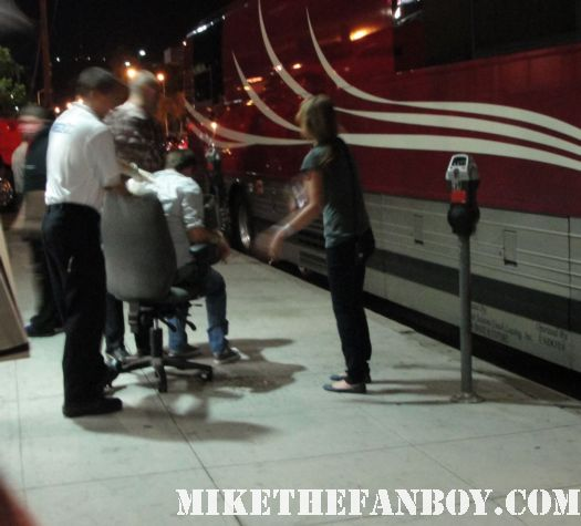 a drunk fan puking into a garbage can in front of Erasure's Tour bus for the tomorrow's world tour vince clarke and andy bell signed autograph hollywood palladium 10-1-11