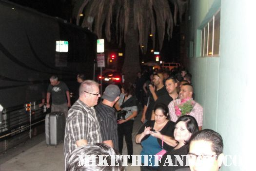 fans waiting in front of Erasure's Tour bus for the tomorrow's world tour vince clarke and andy bell signed autograph hollywood palladium 10-1-11