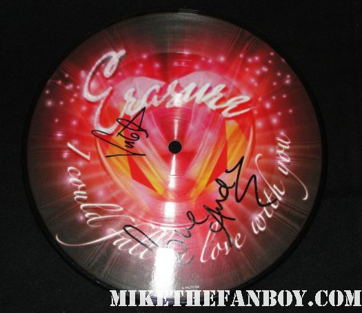 erasure signed autograph I could fall in love with you picture disc signed autograph andy bell vince clarke erasure founder and music legend vince clarke signing autographs for fans outside the hollywood palladium 10-1-11