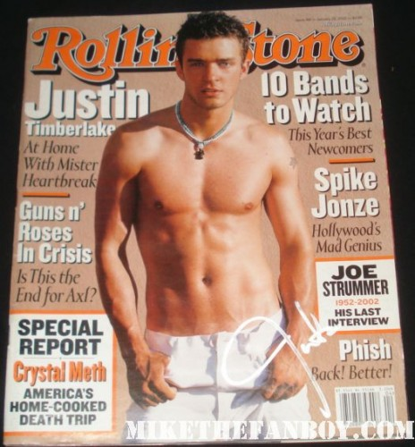 justin timberlake signed autograph rolling stone shirtless sexy hot muscle pecs signed 2003 rolling stone magazine
