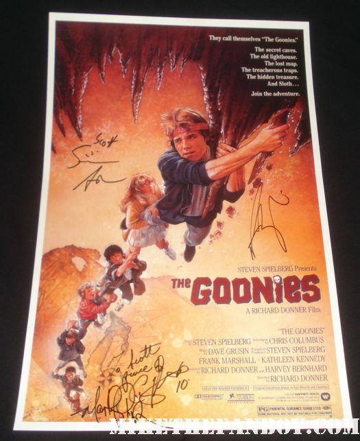 sean astin martha plimpton corey feldman josh brolin signed autograph mini movie poster rare signed promo