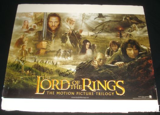 the lord of the rings trilogy signed autograph hugo weaving sean astin viggo mortensen dominic monahan rare promo