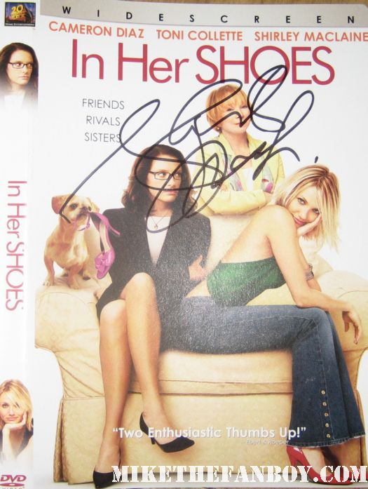 shirley maclaine signed autographed in her shoes dvd cover insert movie poster art promo toni collette shirley maclaine after her show at UCLA refusing to sign autographs for fans then signing scotty's in her shoes dvd cover Oiser Boudreaux steel magnolias