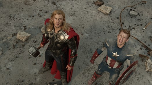 THOR (Chris Hemsworth) (L) and CAPTAIN AMERICA (Chris Evans) in the avengers rare press still hot sexy norse god rare promo hot sexy shirtless joss whedon
